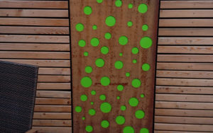 Cortenstahl Blech mit Acrylglas grün