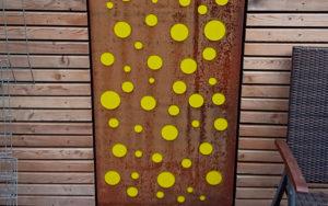 Cortenstahl Blech mit Acrylglas gelb
