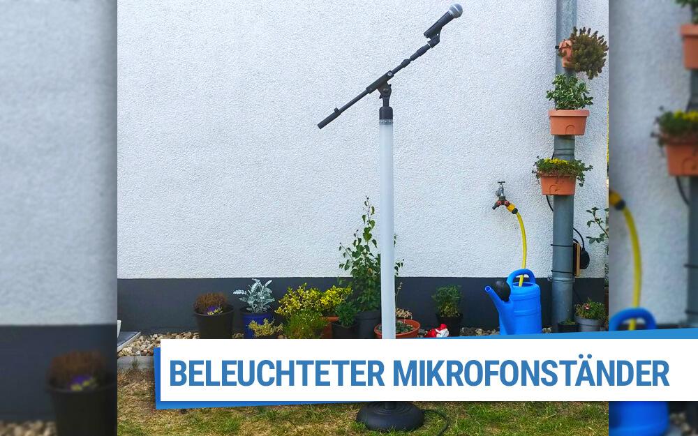 Beleuchteter Mikrofonständer mit Acrylglas Rohr